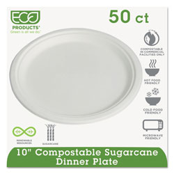 Eco-Products Compostable Sugarcane Dinnerware, 10 in Plate, Natural White, 50/Pack
