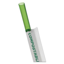 Eco-Products Wrapped Straw, 7.75 in, Green, 9600/Carton