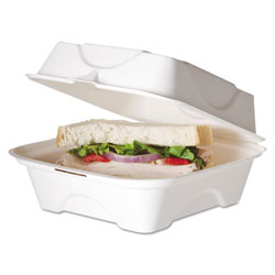 Eco-Products Renewable and Compostable Sugarcane Clamshells, 6 x 6 x 3, 50/Pack, 10 Packs/Carton