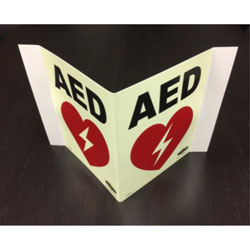 LumAware 3-way AED Sign, 8 in x 10 in
