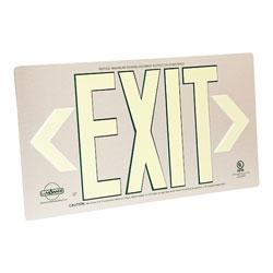 LumAware Photoluminescent Metal Exit Sign, Brushed Aluminum, UL Listed