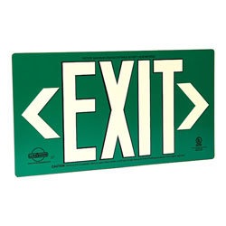 LumAware Photoluminescent Green Metal Exit Sign, UL Listed
