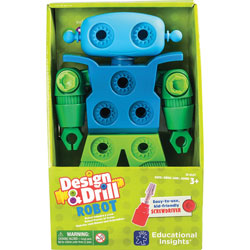 Educational Insights Toy Robot, Design and Drill, 6-1/4 inWx3-3/4 inLx10 inH, Multi