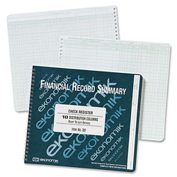 Ekonomik Systems Wirebound Check Register Accounting System, 8 3/4 x 10, 40 Pages