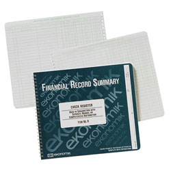 Ekonomik Systems Wirebound Check Register Accounting System, 8 3/4 x 10, 40-Page Book