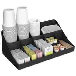 Mind Reader 11-Compartment Coffee Condiment Organizer, 18 1/4 x 6 5/8 x 9 7/8, Black