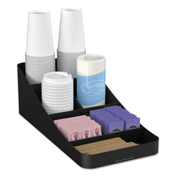Mind Reader Trove Seven-Compartment Coffee Condiment Organizer, Black, 7 3/4 x 16 x 5 1/4