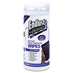 Endust Tablet and Laptop Cleaning Wipes, Unscented, 70/Tub