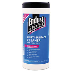 Endust Antistatic Premoistened Wipes for Electronics, Cloth, 6 in x 6 in, 70/Tub