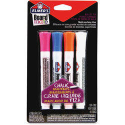 Elmer's Board Mate Chalk Markers, Bullet Tip, 4/PK, Ast