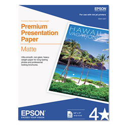 Epson Premium Matte Presentation Paper, 9 mil, 8.5 x 11, Matte Bright White, 50/Pack