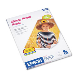 Epson Glossy Photo Paper, 9.4 mil, 8.5 x 11, Glossy White, 50/Pack
