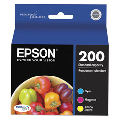 Epson T200520S (200) DURABrite Ultra Ink, 165 Page-Yield, Cyan; Magenta; Yellow