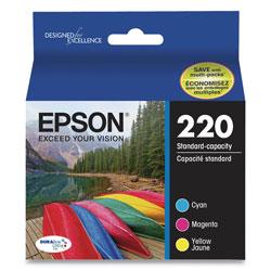 Epson T220520S (220) DURABrite Ultra Ink, 165 Page-Yield, Cyan/Magenta/Yellow