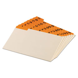 Oxford Manila Index Card Guides with Laminated Tabs, 1/5-Cut Top Tab, 1 to 31, 5 x 8, Manila, 31/Set