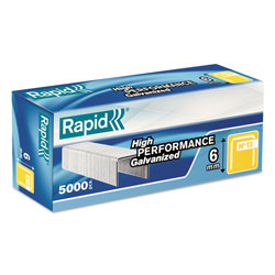 Rapid Fine Wire Staples, 0.25 in Leg, 0.5 in Crown, Steel, 5,000/Box