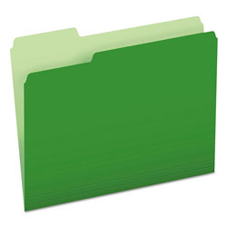 Pendaflex Colored File Folders, 1/3-Cut Tabs, Letter Size, Green/Light Green, 100/Box