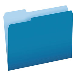 Pendaflex Colored File Folders, 1/3-Cut Tabs, Letter Size, Blue/Light Blue, 100/Box
