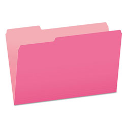 Pendaflex Colored File Folders, 1/3-Cut Tabs, Legal Size, Pink/Light Pink, 100/Box