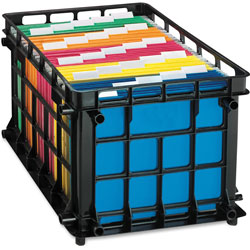 "Oxford File Crate, Letter/Legal, 13-3/4""x11-1/2""x16-3/4"", Black"