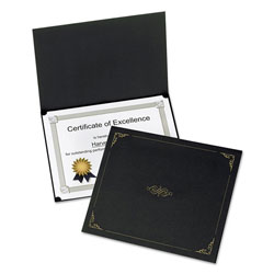 Oxford Certificate Holder, 11 1/4 x 8 3/4, Black, 5/Pack