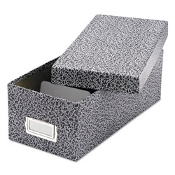 Oxford Reinforced Board Card File, Lift-Off Cover, Holds 1,200 3 x 5 Cards, Black/White