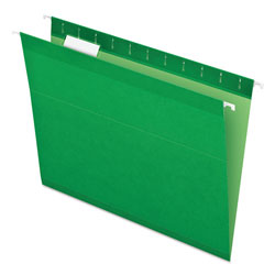 Pendaflex Colored Reinforced Hanging Folders, Letter Size, 1/5-Cut Tab, Bright Green, 25/Box