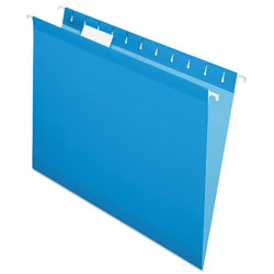 Pendaflex Colored Reinforced Hanging Folders, Letter Size, 1/5-Cut Tab, Blue, 25/Box
