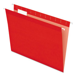 Pendaflex Colored Reinforced Hanging Folders, Letter Size, 1/5-Cut Tab, Red, 25/Box