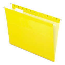 Pendaflex Colored Reinforced Hanging Folders, Letter Size, 1/5-Cut Tab, Yellow, 25/Box