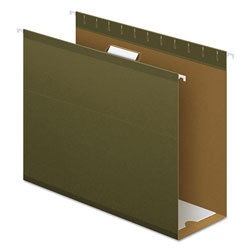 Pendaflex Extra Capacity Reinforced Hanging File Folders with Box Bottom, Letter Size, 1/5-Cut Tab, Standard Green, 25/Box