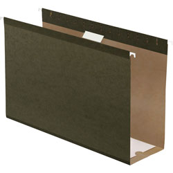 "TOPS 4"" Capacity Reinforced Hanging File Folders, Kraft, Legal, Standard Green, 25/Bx"