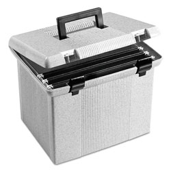 Pendaflex Portable File Boxes, Letter Files, 13.88 in x 14 in x 11.13 in, Granite