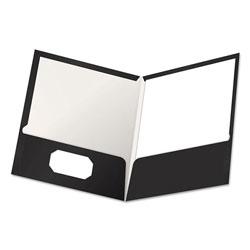 Oxford High Gloss Laminated Paperboard Folder, 100-Sheet Capacity, Black, 25/Box
