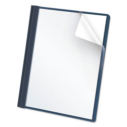 Oxford Clear Front Report Cover, 3 Fasteners, Letter, 1/2 in Capacity, Dark Blue, 25/Box