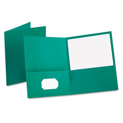 Oxford Twin-Pocket Folder, Embossed Leather Grain Paper, Teal, 25/Box