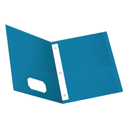 Oxford Twin-Pocket Folders with 3 Fasteners, Letter, 1/2 in Capacity, Light Blue, 25/Box