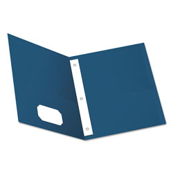 Oxford Twin-Pocket Folders with 3 Fasteners, Letter, 1/2 in Capacity, Blue, 25/Box