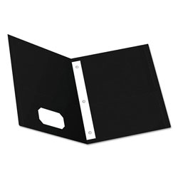 Oxford Twin-Pocket Folders with 3 Fasteners, Letter, 1/2 in Capacity, Black 25/Box