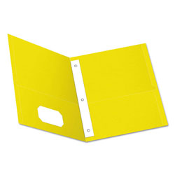 Oxford Twin-Pocket Folders with 3 Fasteners, Letter, 1/2 in Capacity, Yellow, 25/Box
