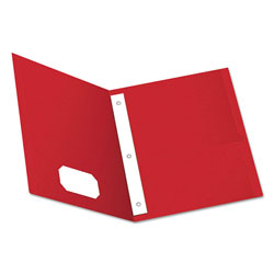 Oxford Twin-Pocket Folders with 3 Fasteners, Letter, 1/2 in Capacity, Red, 25/Box