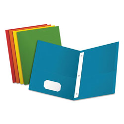 Oxford Twin-Pocket Folders with 3 Fasteners, Letter, 1/2 in Capacity, Assorted, 25/Box