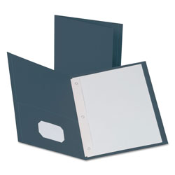 Oxford Twin-Pocket Folders with 3 Fasteners, Letter, 1/2 in Capacity, Dark Blue, 25/Box