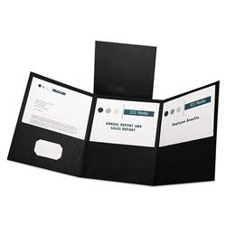 Oxford Tri-Fold Folder w/3 Pockets, Holds 150 Letter-Size Sheets, Black