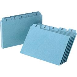 "Oxford Pressboard, Self Tab Card Guides, A-Z, 25 PT, 6""x4"", BE"