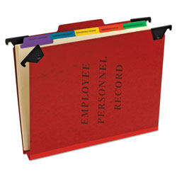 Pendaflex Hanging Style Personnel Folders, 1/3-Cut Tabs, Center Position, Letter Size, Red
