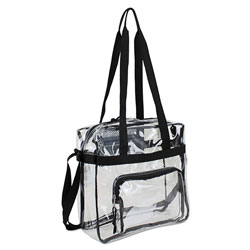 Eastsport Clear Stadium Approved Tote, 12 x 5 x 12, Black/Clear