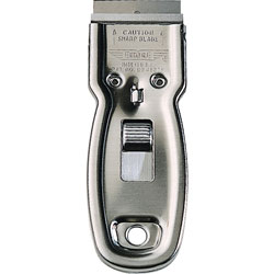 Ettore Products Scraper, Pocket, 1-1/10 inWx4-1/2 inLx1/4 inH, Steel Gray