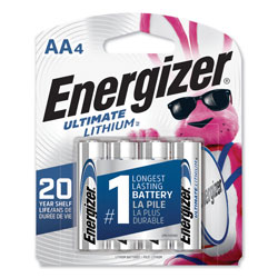 Energizer Ultimate Lithium AA Batteries, 1.5V, 4/Pack