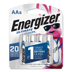 Energizer Ultimate Lithium AA Batteries, 1.5V, 8/Pack